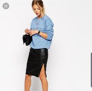 ASOS Pencil Skirt Leather Side Split